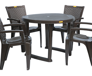 Calicut Dining Table (DBR) and Baleno Dining Chairs (DBR) Combo Dining Set
