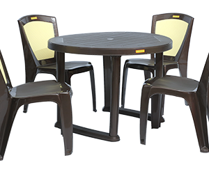 Calicut Dining Table (DBR) and Brezza Dining Chairs (DBR) Combo Dining Set