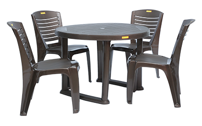 Calicut Dining Table (DBR) and Crysta Dining Chairs (DBR) Combo Dining Set