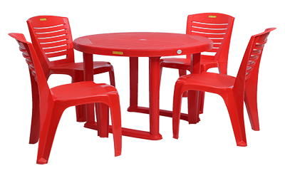 Calicut Dining Table (RED) and Crysta Dining Chairs (RED) Combo Dining Set