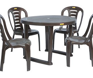 Calicut Dining Table (DBR) and Figo Dining Chairs (DBR) Combo Dining Set