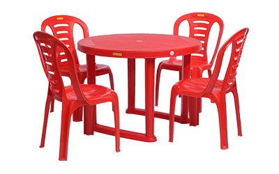 Calicut Dining Table (RED) and Figo Dining Chairs (RED) Combo Dining Set