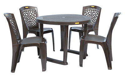 Calicut Dining Table (DBR) and Hexa Dining Chairs (DBR) Combo Dining Set