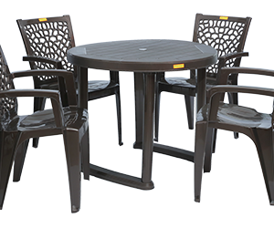 Calicut Dining Table (DBR) and Jazz Dining Chairs (DBR) Combo Dining Set