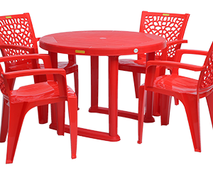 Calicut Dining Table (RED) and Jazz Dining Chairs (RED) Combo Dining Set