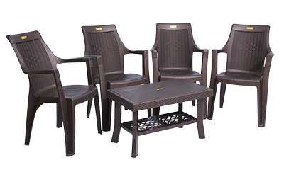 Accura Premium Chair (DBR) and Fortuner Center Table (DBR) Premium Chairs Garden Chairs Combo