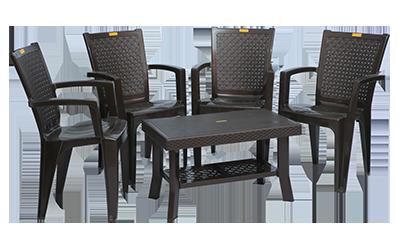 Baleno Premium Chair (DBR) and Fortuner Center Table (DBR) Premium Chairs Garden Chairs Combo