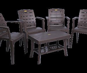 Bentley Premium Chair (DBR) and Fortuner Center Table (DBR) Premium Chairs Garden Chairs Combo