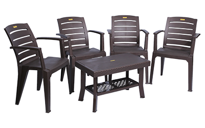 Bentley Premium Chair (DBR) and Fortuner Center Table (DBR) Premium Chairs Garden Chairs Combo