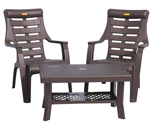 Ferrari Relax Chairs (DBR) and Fortuner Center Table (DBR) Lawn Chairs Garden Chairs Combo