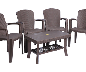 Impreza Premium Chair (DBR) and Fortuner Center Table (DBR) Premium Chairs Garden Chairs Combo