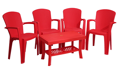 Impreza Premium Chair (RED) and Fortuner Center Table (RED) Premium Chairs Garden Chairs Combo