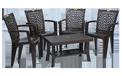 Jazz Premium Chair (DBR) and Fortuner Center Table (DBR) Premium Chairs Garden Chairs Combo