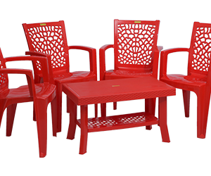 Jazz Premium Chair (RED) and Fortuner Center Table (RED) Premium Chairs Garden Chairs Combo