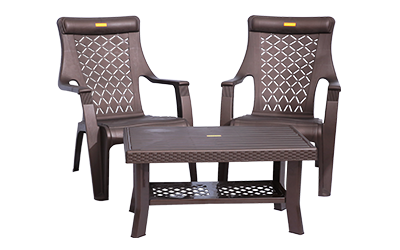 Lotus Relax Chairs (DBR) and Fortuner Center Table (DBR) Lawn Chairs Garden Chairs Combo