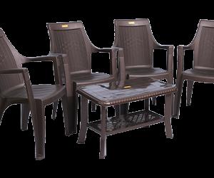 Accura Premium Chair (DBR) and Innova Center Table (DBR) Premium Chairs Garden Chairs Combo