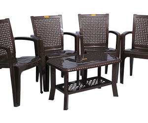 Baleno Premium Chair (DBR) and Innova Center Table (DBR) Premium Chairs Garden Chairs Combo