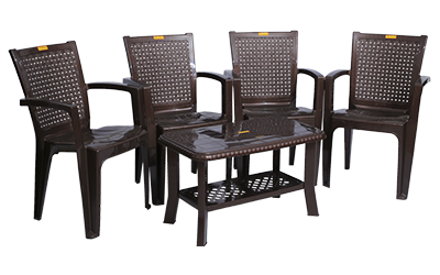 Baleno Premium Chair (DBR) and Innova Center Table (DBR) Premium Chairs Garden Chairs Combo