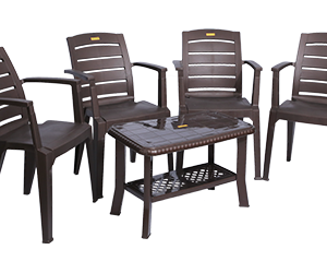 Bentley Premium Chair (DBR) and Innova Center Table (DBR) Premium Chairs Garden Chairs Combo