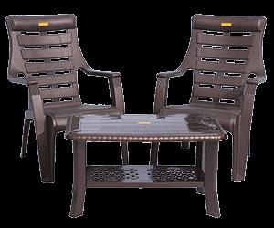 Ferrari Relax Chairs (DBR) and Innova Center Table (DBR) Lawn Chairs Garden Chairs Combo