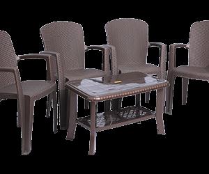 Impreza Premium Chair (DBR) and Innova Center Table (DBR) Premium Chairs Garden Chairs Combo