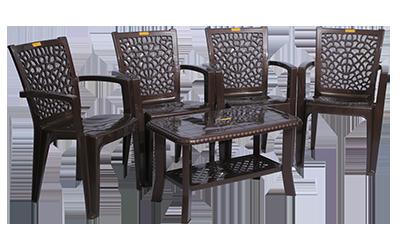 Jazz Premium Chair (DBR) and Innova Center Table (DBR) Premium Chairs Garden Chairs Combo