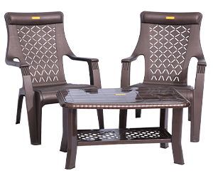 Lotus Relax Chairs (DBR) and Innova Center Table (DBR) Lawn Chairs Garden Chairs Combo