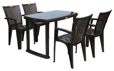 Mangalore Dining Table (DBR) and Baleno Dining Chairs (DBR) Combo Dining Set