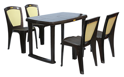 Mangalore Dining Table (DBR) and Brezza Dining Chairs (DBR) Combo Dining Set