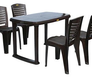 Mangalore Dining Table (DBR) and Crysta Dining Chairs (DBR) Combo Dining Set