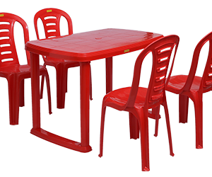 Mangalore Dining Table (RED) and Figo Dining Chairs (RED) Combo Dining Set