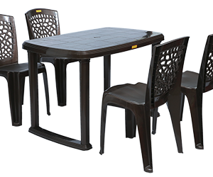 Mangalore Dining Table (DBR) and Hexa Dining Chairs (DBR) Combo Dining Set