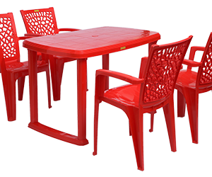 Mangalore Dining Table (RED) and Jazz Dining Chairs (RED) Combo Dining Set