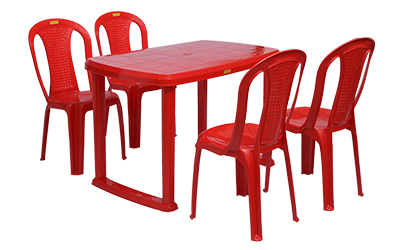 Mangalore Dining Table (RED) and Polo Dining Chairs (RED) Combo Dining Set