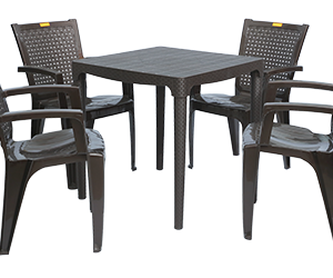 Mumbai Dining Table (DBR) and Baleno Dining Chairs (DBR) Combo Dining Set
