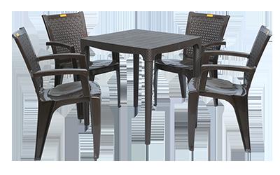Mumbai Dining Table (DBR) and Baleno Dining Chairs (DBR) Combo Dining Set
