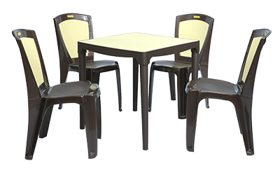 Mumbai Dining Table (DBR/IVY) and Brezza Dining Chairs (DBR) Combo Dining Set