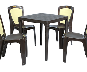 Mumbai Dining Table (DBR) and Brezza Dining Chairs (DBR) Combo Dining Set
