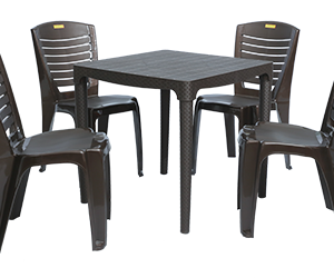 Mumbai Dining Table (DBR) and Crysta Dining Chairs (DBR) Combo Dining Set