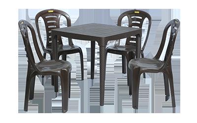 Mumbai Dining Table (DBR) and Figo Dining Chairs (DBR) Combo Dining Set