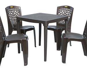 Mumbai Dining Table (DBR) and Hexa Dining Chairs (DBR) Combo Dining Set