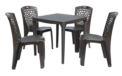 Mumbai Dining Table (DBR) and Hexa Dining Chairs (DBR) Combo Dining Set
