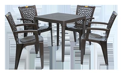 Mumbai Dining Table (DBR) and Jazz Dining Chairs (DBR) Combo Dining Set